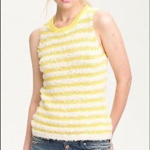 AIKO Kelli yellow fringe striped sweater tank